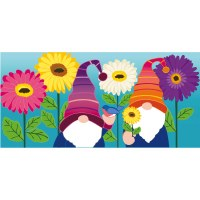 "10"" x 22"" Multicolor Flower Garden Gnomes Sassafras Switch Mat Doormat"