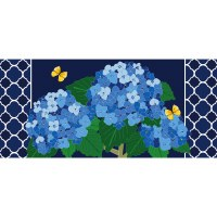 "10"" x 22"" Blue Hydrangea Blossoms Sassafras Switch Mat Doormat"