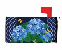 "18"" x 21"" Blue Hydrangea Trellis Mailbox Cover"