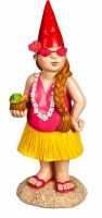 "12"" Red Hat Girl Gnome With Lei and Coconut Drink"