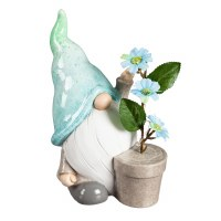 "10"" Blue Hat Ceramic Gnome With LED Flowers"