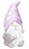 "7"" Purple and Gray Ceramic Gnome Holding a Watering Can"