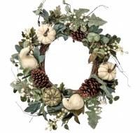 """24"""" Round Cream and Green Pumpkin Gourd Harvest Wreath"""