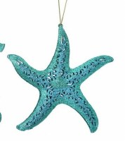 "5"" Turquoise Glitter Metal Starfish Ornament"