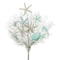 """23"""" Aqua and White Glitter Sea Fan With Sea Life Ornaments Spray"""