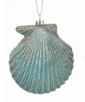 """5"""" Aqua Scallop Shell With Silver Glitter Ornament"""