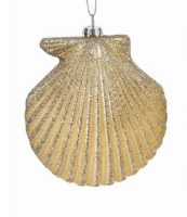 "5"" Champagne Scallop Shell With Gold Glitter Ornament"