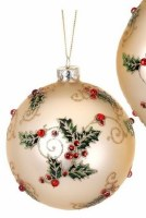 """4"""" Round Champagne Glass Ball With Red and Green Holly Filigree Ornament"""