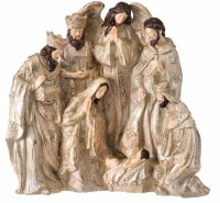"9"" Champagne Gold Polyresin Nativity Scene"