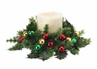 """3"""" Opening Faux Pine and Multicolor Ball Ornaments Candle Ring"""