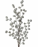 """26"""" Faux Silver Metallic Berry With Tinsel Spray"""