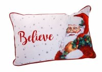 """12"""" x 18 White and Red Believe Santa Lumbar Pillow"""