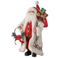 "18"" Polyresin Santa With Fabric Coat and Holding a Cardinal Hoop and Bag of Gifts"