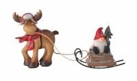 "8"" Polyresin Deer Pulling Gnome on Sled Figurine"