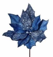 """24"""" Faux Blue Creased Velvet and Glitter Poinsettia Stem"""