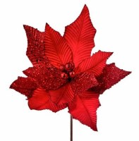 "24"" Faux Red Creased Velvet and Glitter Poinsettia Stem"