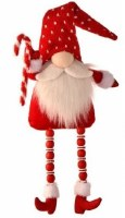 """14"""" Red and White Sitting Santa Gnome With Beaded Legs and Candy Cane"""