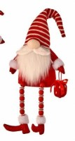"""14"""" Red and White Sitting Santa Gnome With Beaded Legs and Gift"""