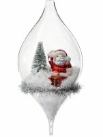 """7"""" Glass Finial With Polyresin Santa and Tree Ornament"""