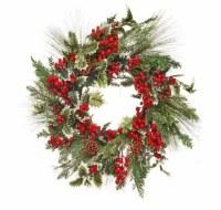 """24"""" Round Faux Berry and Pinecone Spruce Wreath"""