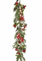 """48"""" Faux Berry and Pinecone Spruce Garland"""