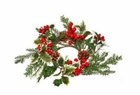 """4.5"""" Opening Faux Berry and Pinecone Spruce Candle Ring"""