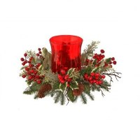 """16"""" Faux Berry and Pinecone Spruce Red Hurricane Candle Holder"""