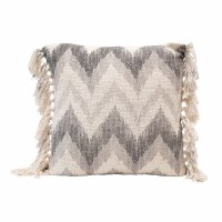 "20"" Square Gray and White Stonewashed Cotton Chevron Print Slub Pillow With Tassels"