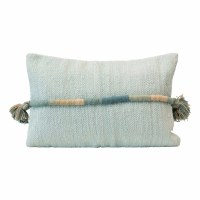 """16"""" x 24"""" Light Green Woven Cotton Lumbar Pillow With Multicolor Wrapped Cord and Tassels"""