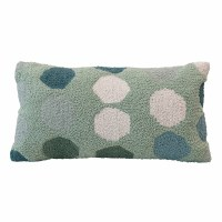 """12"""" x 24"""" Green With White and Blue Dots Woven Cotton Lumbar Pillow"""
