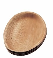 "Pack of 6 10"" Oval Natural Areca Palm Single Use Plates"