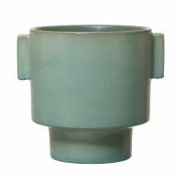"7"" Matte Aqua Glazed Ceramic Pot With Square Handles"