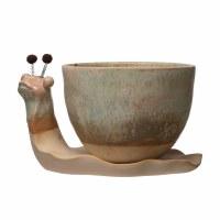 "9"" Natural Glazed Ceramic Snail Planter"