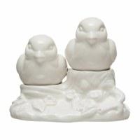 """3"""" White Dolomite Bird on Stump Salt & Pepper Shakers"""