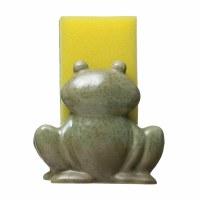 """4"""" Green Glazed Ceramic Frog Sponge Holder"""