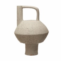 """13"""" White Terracotta Textured Vase With Handle"""