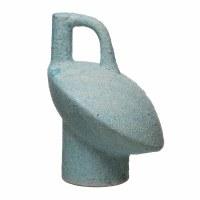 "10"" Aqua Terracotta Textured Vase With Handle"