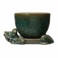 "5"" Green Glazed Ceramic Planter With Frog Base"