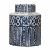 "10"" Round Blue and Cream Patterned Ceramic Ginger Jar With Lid"