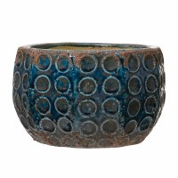 """7"""" Round Distressed Blue Terracotta Circle Patterned Pot"""