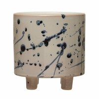 "6"" Round White and Blue Splatter Ceramic Footed Pot"