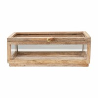 "8"" x 15"" Natural Mango Wood and Glass Display Box With Lid"