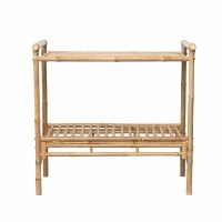 """40"""" Natural Bamboo Console With Slatted Bottom Shelf"""