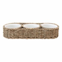 "14"" Natural Woven Seagrass Basket With Three White Ceramic Bowls"