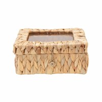 "9"" Square Woven Seagrass Box With Glass Display Lid"