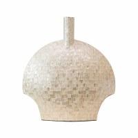 "24"" Natural Capiz Shell and Paper Mache Flat Vase"