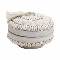 """6"""" Round White Beaded Shell Bamboo Box"""