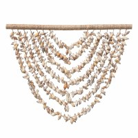 "24"" Handmade Shell Wall Hanging With Wood Hanger"