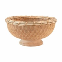 "12"" Round Hand-Carved Mango Wood Footed Bowl With Woven Trim"