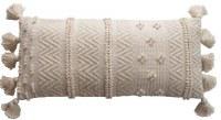 """16"""" x 36"""" Cream Woven Pattern Lumbar Pillow With Tassels"""